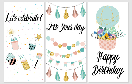 topper: Happy Birthday Party cards set with cake, cupcake, topper, candles and lettering text. Vector hand drawn illustration.