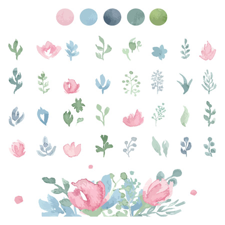 Watercolor floral collection with leaves and flowers. Spring or summer design for wedding invitation or greeting cards. Hand drawn.