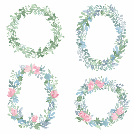 Watercolor hand drawn wreathes. Wreathes design for wedding invitations, cards and any other your projects.