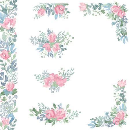Aquarel bloemstukken en boeketten. Hand getrokken ontwerp voor bruiloft uitnodiging, verjaardagskaarten en andere decoraties.