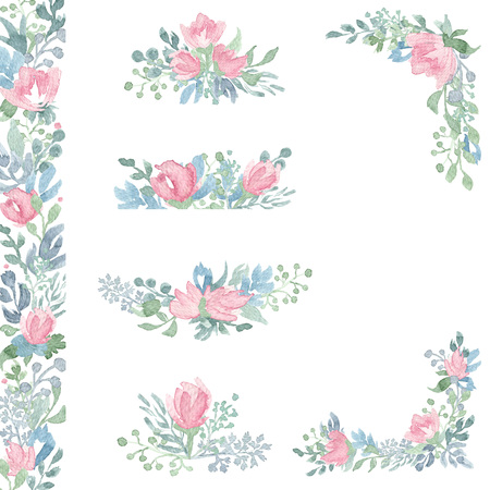 Waterverf bloem arrangementen en boeketten. Handgetekend ontwerp voor bruiloftuitnodiging, verjaardagskaarten en andere decoraties.
