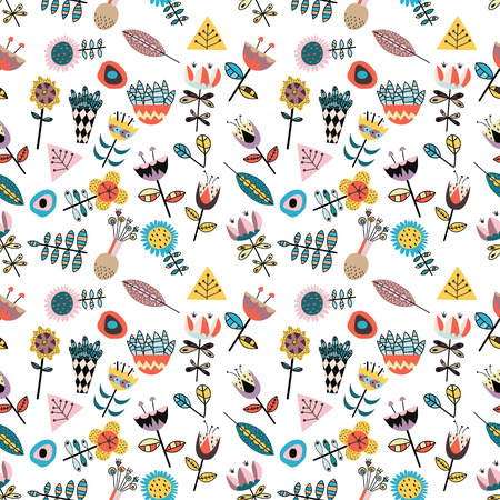 Stunning seamless pattern with scandinavian style figures, cute flowers and leaves.