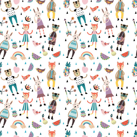 stunning: Stunning seamless pattern with scandinavian style animals and figures, cute flowers and leaves.