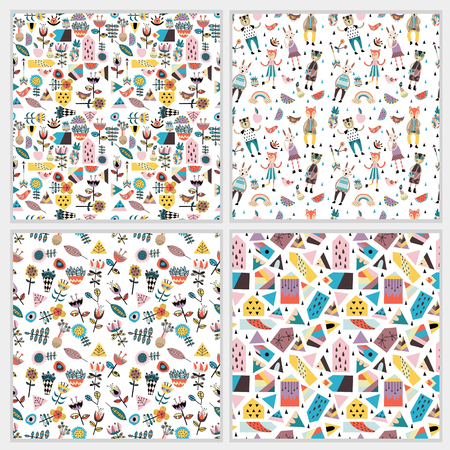 Stunning seamless patterns with scandinavian style figures, flowers and leaves, cute animals, houses and shape.