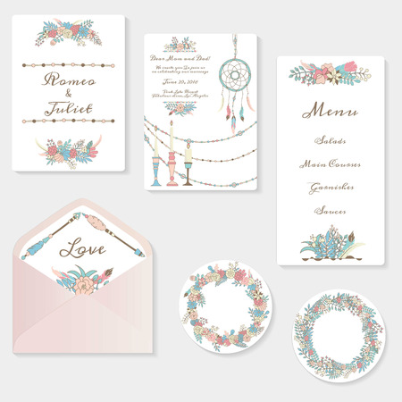 Wedding invitation cards suite with tender garden design. Pastel flowers, birdcages, garlands and lamps. Boho hippie style. Hand drawn illustrations.