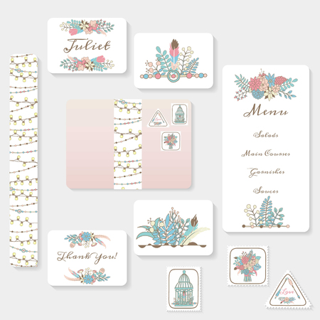 Wedding invitation cards suite with tender garden design. Pastel flowers, birdcages, garlands and lamps. Boho hippie style. Hand drawn illustrations. Ilustração Vetorial
