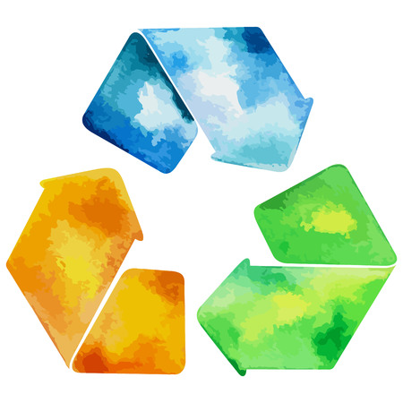 eps vector icon: Watercolor recycled water sign. Recycle water icon vector. Recycled water icon eps watercolor file.