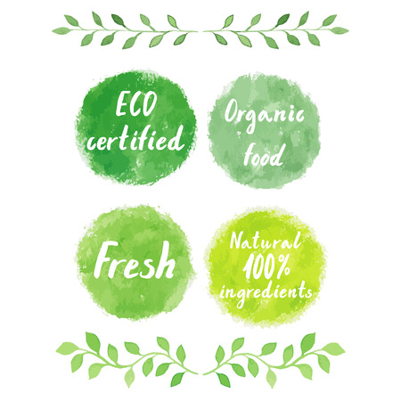 Watercolor green logos set. Watercolor  painting spots, splashes, badges, squares. Sign label,textured emblem set. BECO certified, organic food, fresh product, 100% natural ingredients. Imagens