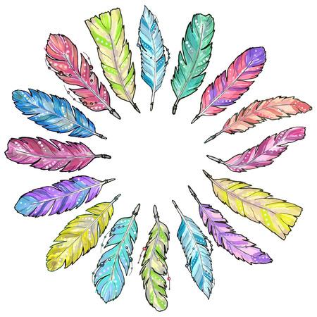 손으로 그린 스케치 수채화 깃털의 집합입니다.