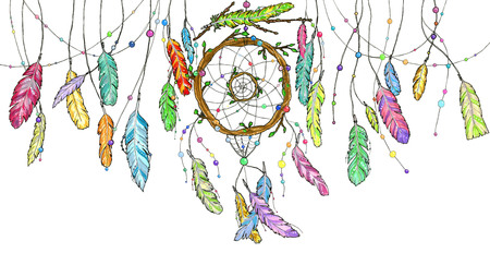 Hand drawn watercolor dream catcher from tree branches decorated with beads and with bright colorful feathers swinging in the wind. Sketch illustration for print or tattoo 版權商用圖片