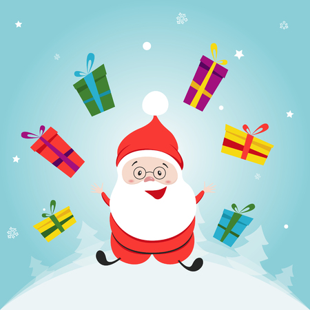 christmas time: Little Happy Santa Claus Cartoon Character. Hand drawn vector illustration.