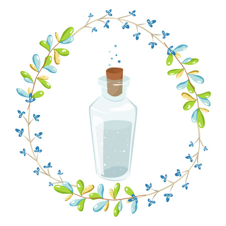 Magic illustration with fairy flowers wreath and a jar of blue water with stars. vector design for girls and children collections