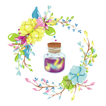 Magic illustration with fairy flowers wreath and a jar of space. Hand drawn vector design for girls and children collections