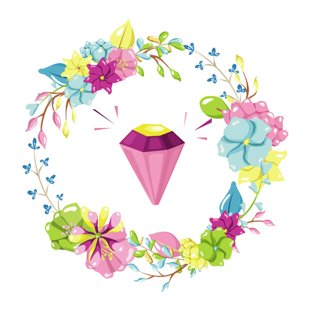 Magic illustration with fairy flowers wreath and a glowing diamond. Hand drawn vector design for girls and children collections