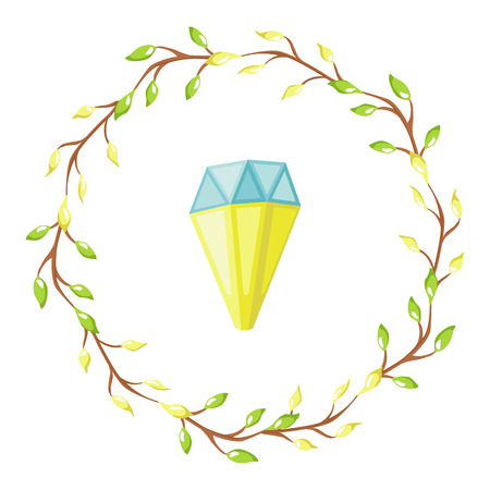 Magic illustration with fairy flowers wreath and a glowing diamond. vector design for girls and children collections