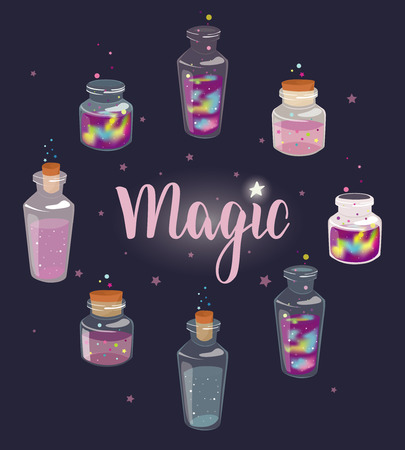 Set of transparent glass bottles with liquid space and magic liquids. Cartoon jars with miracles. Vector hand drawn illustration. Illustration