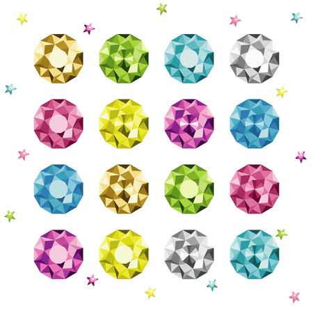 Big set of hand drawn diamonds. Vector cartoon colorful gemstones. Bright crystals set.