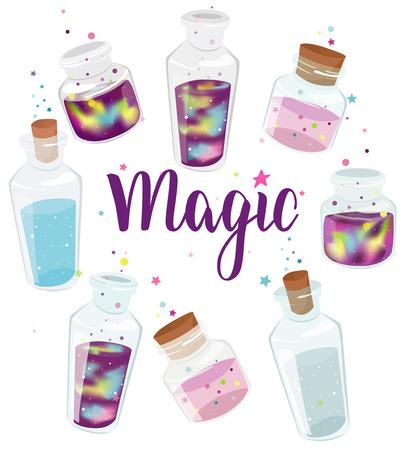 Set of transparent glass bottles with liquid space and magic liquids. Cartoon jars with miracles. Vector hand drawn illustration. Illusztráció