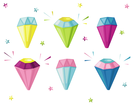 Set of hand drawn cartoon diamonds. Vector illustration. Ilustração