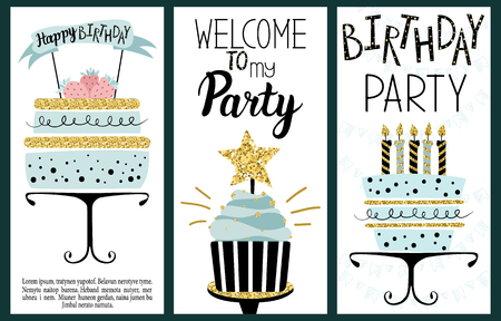 Happy Birthday Party cards set with cake, cupcake, topper, candles and lettering text. Hand drawn illustration.