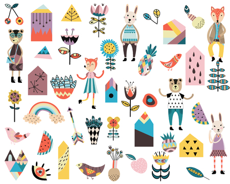 Set of cute scandinavian style elements and animals. Hand drawn vector illustration.  イラスト・ベクター素材