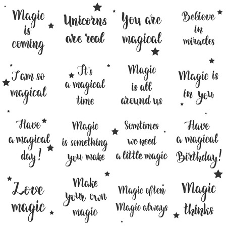 Magic typography set. Vector emblems, logo. Text design usable for cards, flyers, banners, gifts or any other project.