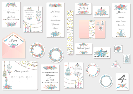 Watercolor wedding invitation cards suite with tender flowers and leaves. Hand drawn pastel flowers and plants.