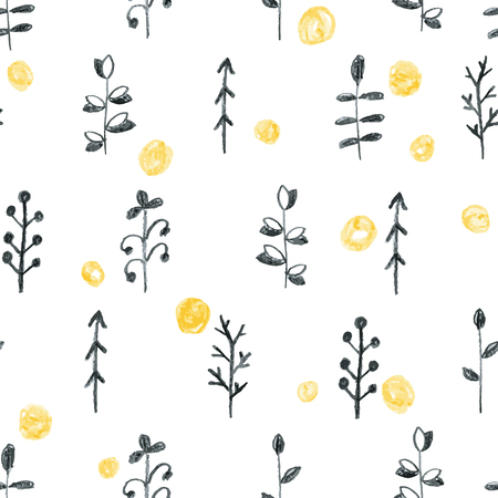 Abstract seamless scandinavian pattern. Hand drawn watercolor background with black plants and yellow circles.