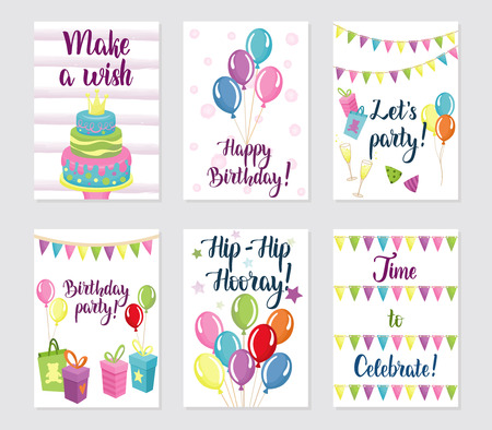 Happy Birthday Cards Set Greeting Cards With Balloons Cakes