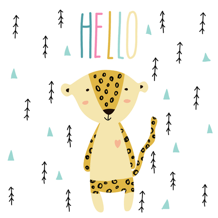 Little baby leopard art in scandinavian style. Cute cartoon animal sketch illustration.