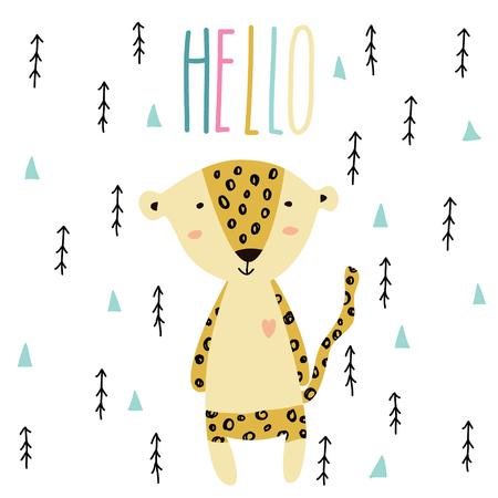 Little baby leopard art in scandinavian style. Cute cartoon animal sketch illustration.