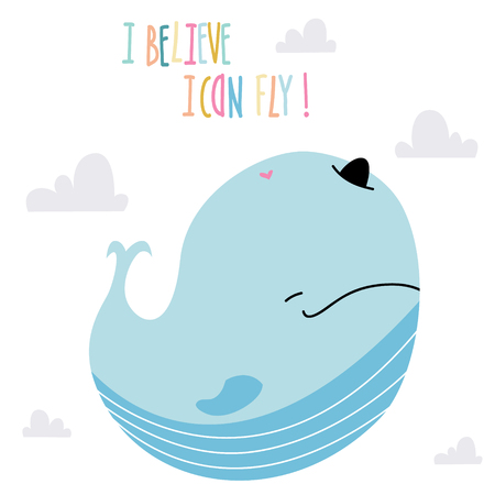 Little baby whale art in scandinavian style. Cute cartoon animal sketch illustration.