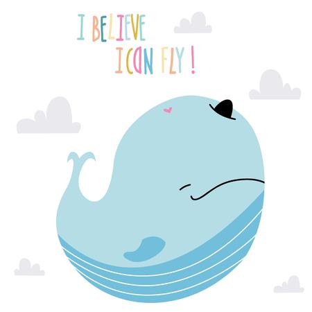 Little baby whale art in scandinavian style. Cute cartoon animal sketch illustration.