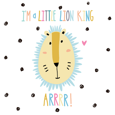 Little baby lion art in scandinavian style. Cute cartoon animal sketch illustration.