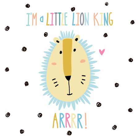 Little baby lion art in scandinavian style. Cute cartoon animal sketch illustration.