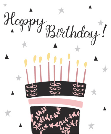 Happy Birthday cake with candles and wishes. Congratulation card. Party flyer.