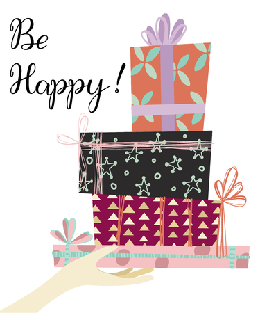 Hand with many types of gifts and wishes of happiness. Birthday congratulations card. Ilustração