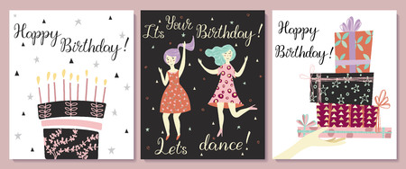 Cards set. Hand with gifts and wishes of happiness. Two girls dance in dresses at the birthday party. Birthday cake with candles and congratulations lettering. Ilustracja