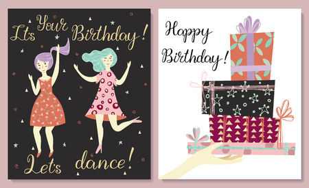 Cards set. Two girls dance in dresses at the birthday party. Hand with gifts and wishes of happiness. Birthday congratulations lettering.