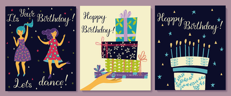Cards set. Hand with gifts and wishes of happiness. Two girls dance in dresses at the birthday party. Birthday cake with candles and congratulations lettering. Ilustração