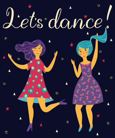 Girls dance in dresses at the birthday party. Lets dance lettering. Ilustração