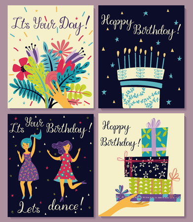 Birthday cards set. Bouquet of flowers in hand. Birthday cake with candles and congratulations lettering. Two girls dance in dresses at the birthday party. Hand with gifts and wishes of happiness.