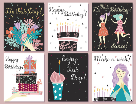 Birthday cards set. Birthday cake with candles and congratulations lettering. Girl making a wish. Hand with gifts and wishes of happiness. Bouquet of flowers in hand. Cupcake with a candle. Two girls dance in dresses at the birthday party.