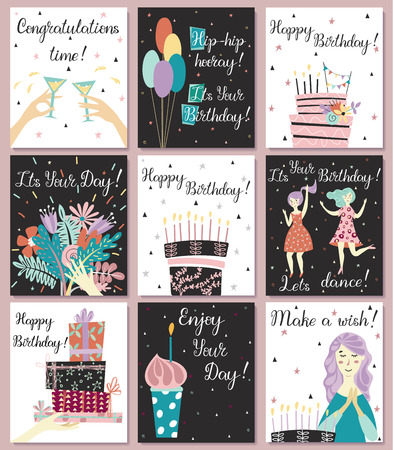 Birthday cards set. Birthday cake with candles and congratulations lettering. Girl making a wish. Hand with gifts and wishes of happiness. Bouquet of flowers in hand. Cupcake with a candle. Two girls dance in dresses at the birthday party. Glasses with a drink. Baloons. Birthday cake. 写真素材 - 122779020