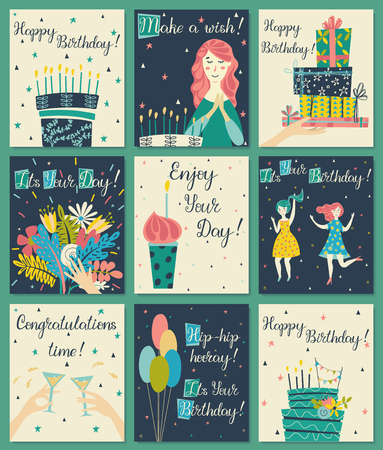 Birthday cards set. Birthday cake with candles and congratulations lettering. Girl making a wish. Hand with gifts and wishes of happiness. Bouquet of flowers in hand. Cupcake with a candle. Two girls dance in dresses at the birthday party. Glasses with a drink. Baloons. Birthday cake.