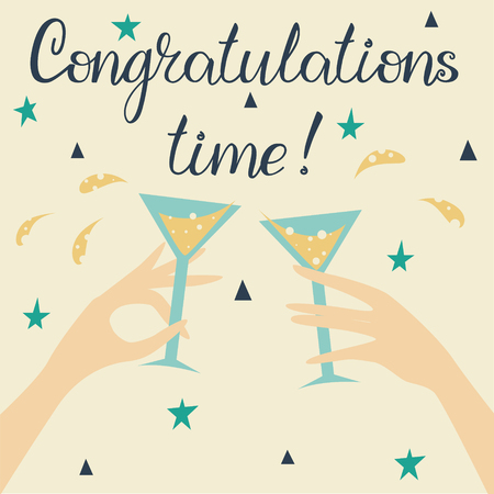 Poster with two glasses with a drink in hands. Congratulation lettering text. Stock Illustratie