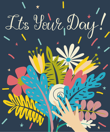 Poster with bouquet of flowers in a hand with congratulation lettering text.