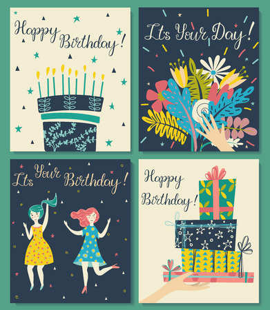 Birthday cards set. Bouquet of flowers in hand. Birthday cake with candles and congratulations lettering. Two girls dance in dresses at the birthday party. Hand with gifts and wishes of happiness. 写真素材 - 122779026