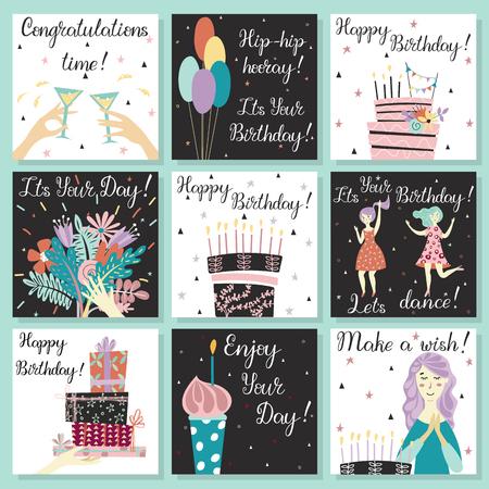 Verjaardagskaarten instellen. Verjaardagstaart met kaarsen en gefeliciteerd belettering. Meisje dat een wens doet. Hand met geschenken en wensen van geluk. Boeket bloemen ter beschikking. Cupcake met een kaars. Twee meisjes dansen in jurken op het verjaardagsfeestje. Glazen met een drankje. ballonnen. Verjaardagstaart.