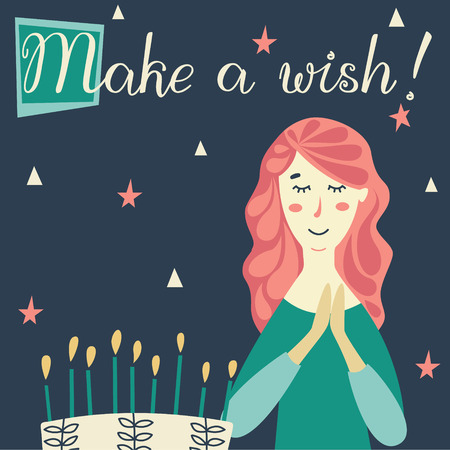 Girl making a wish with Birthday cake and candles. Congratulations lettering text. Ilustração